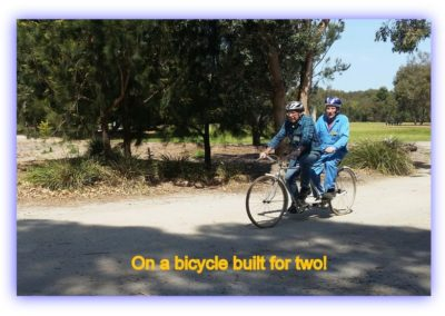 On a bicycle built for two!